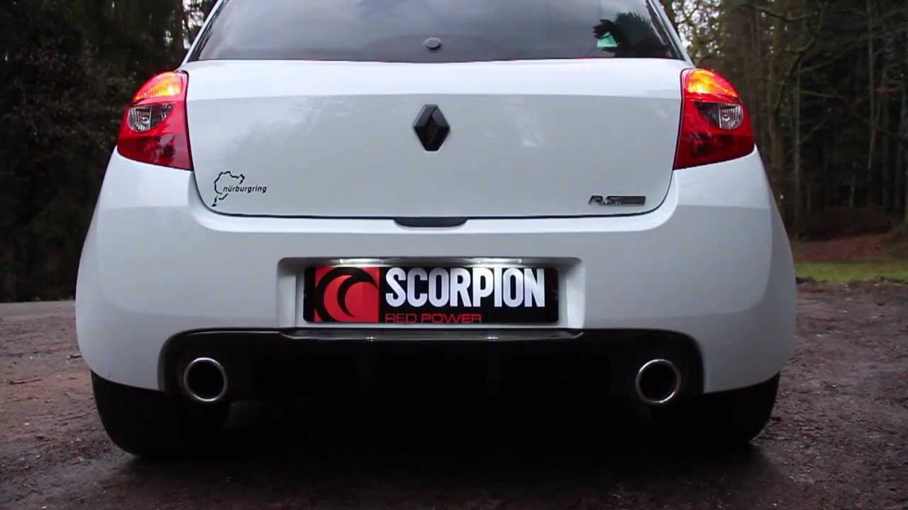 scorpion exhaust clio 3 rs 200 catback resonated decat youtube. Black Bedroom Furniture Sets. Home Design Ideas