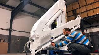 Hiab crane restoration. Eco friendly Media Blasting. Sandblasting, priming & painting by Profi Blast