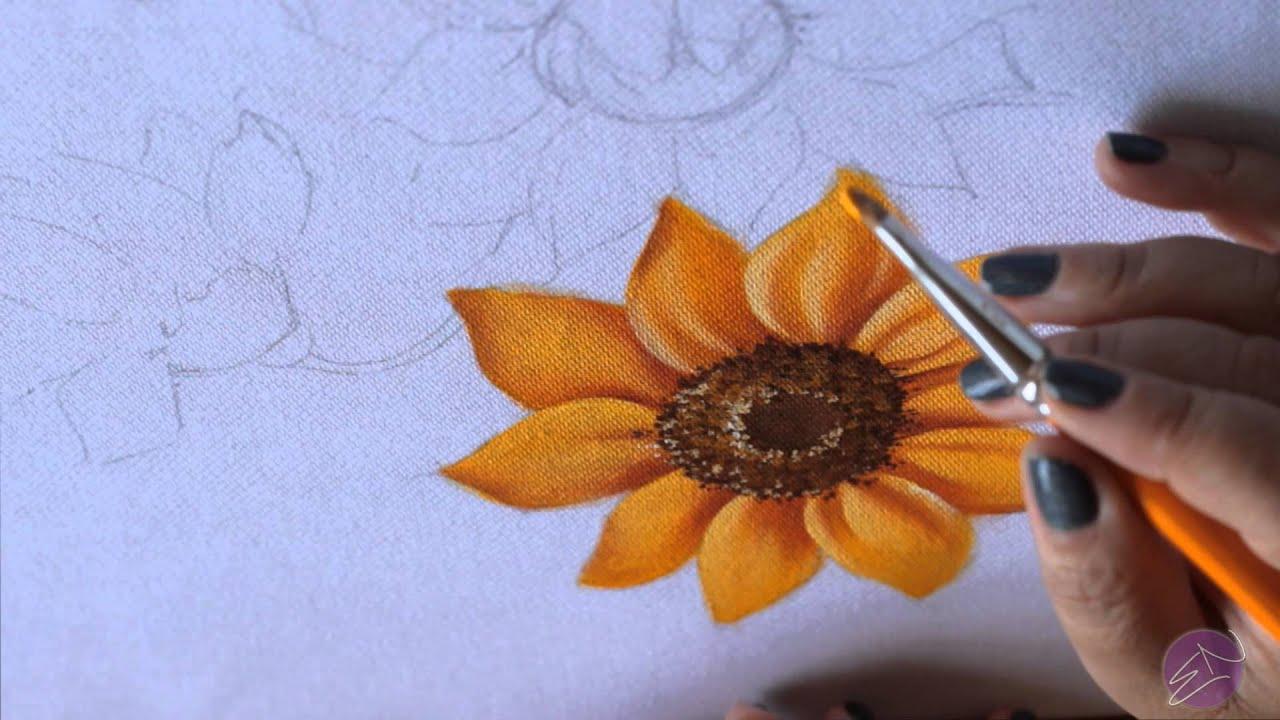 Artesanato Girassol Tecido ~ Pintura em tecido Eliane Nascimento Girassol YouTube