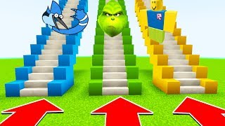 Minecraft : DO NOT GO UP THE WRONG STAIRS (ROBLOX, REGULAR SHOW, GRINCH) (XboxOne/PE/MCPE)