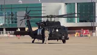 mh 60m blackhawk spinning up for departure
