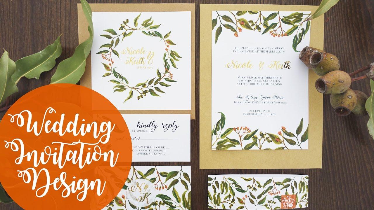 Wedding invitation design foliage watercolour photoshop youtube wedding invitation design foliage watercolour photoshop stopboris Images
