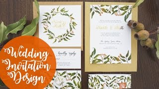 Wedding Invitation Design| Foliage | Watercolour | Photoshop
