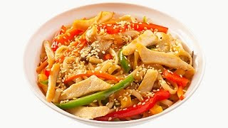 Удон с курицей. Рецепт Азиатской кухни.