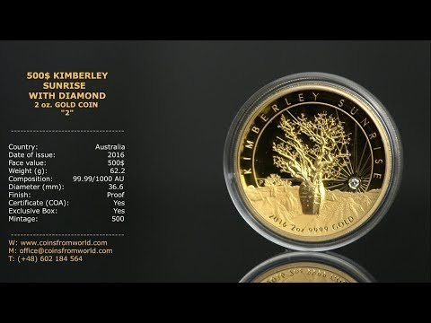 Australia 2016 500$ Kimberley Sunrise With White Diamond 2oz Gold Proof High Relief Coin