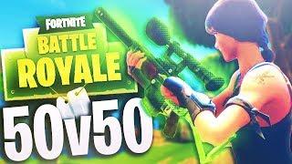 THE MOST EPIC 50 Vs. 50 IN FORTNITE BATTLE ROYALE!! (NEW FORTNITE 50 vs 50 GAME MODE GAMEPLAY)