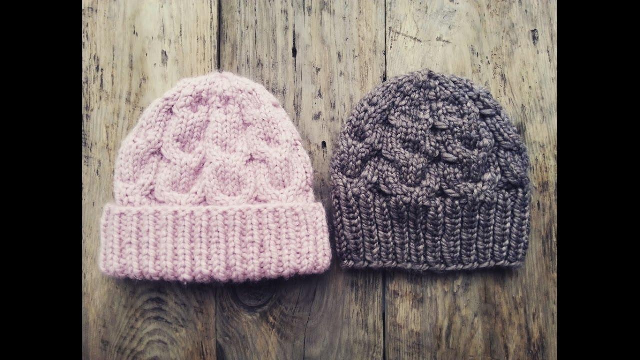 шапка розовый снег с отворотом и без спицами из толстой пряжи мк