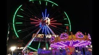 Night Amusement Park | Euro Wheel funfair | Carnival games and fair rides