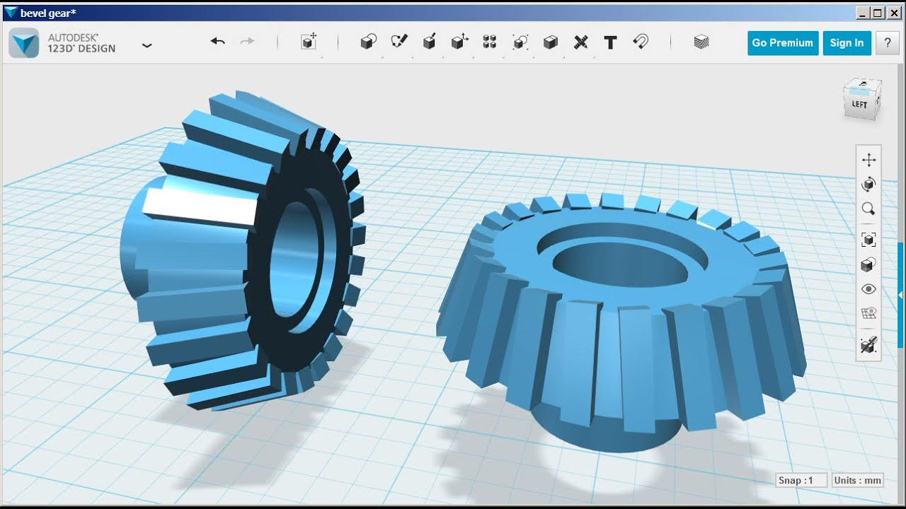 123d design bevel gear youtube 123d cad