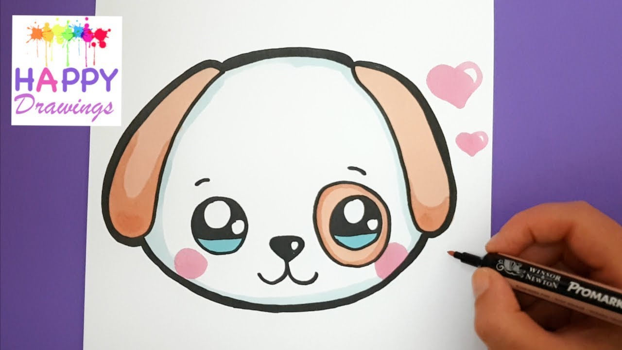 How To Draw And Color A Cute Puppy Emoji Easy Happy Drawings