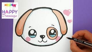 drawings happy drawing dog face puppy draw easy emoji puppies unicorn dogs donut step super adorable paintingvalley stuff