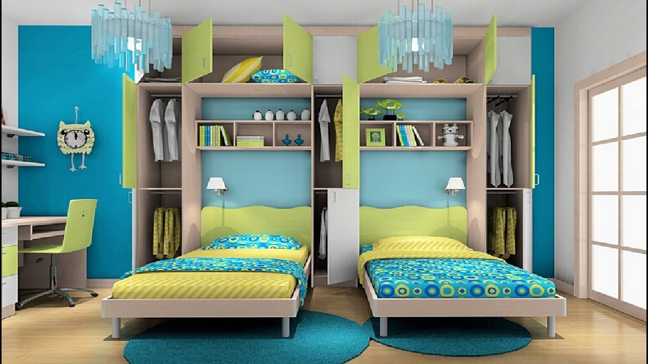 Awesome twin bedroom design ideas with double bed for boys for Room design 2 twin beds