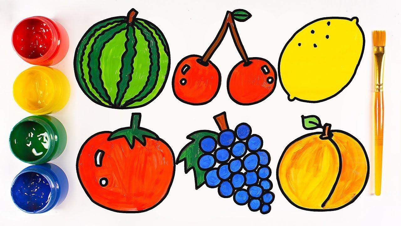 Как нарисовать овощи и фрукты. Для детей. - YouTube
