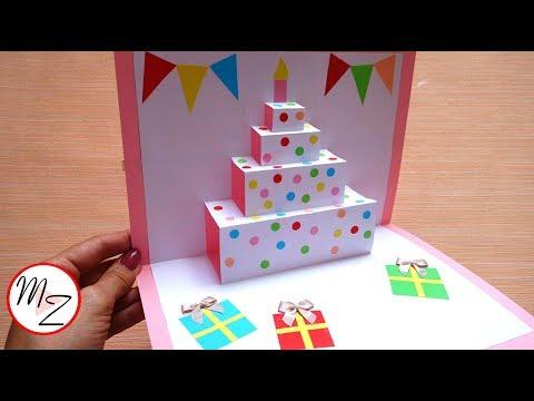DIY cake pop up card for birthday| Easy 3D cards DIY | Maison Zizou