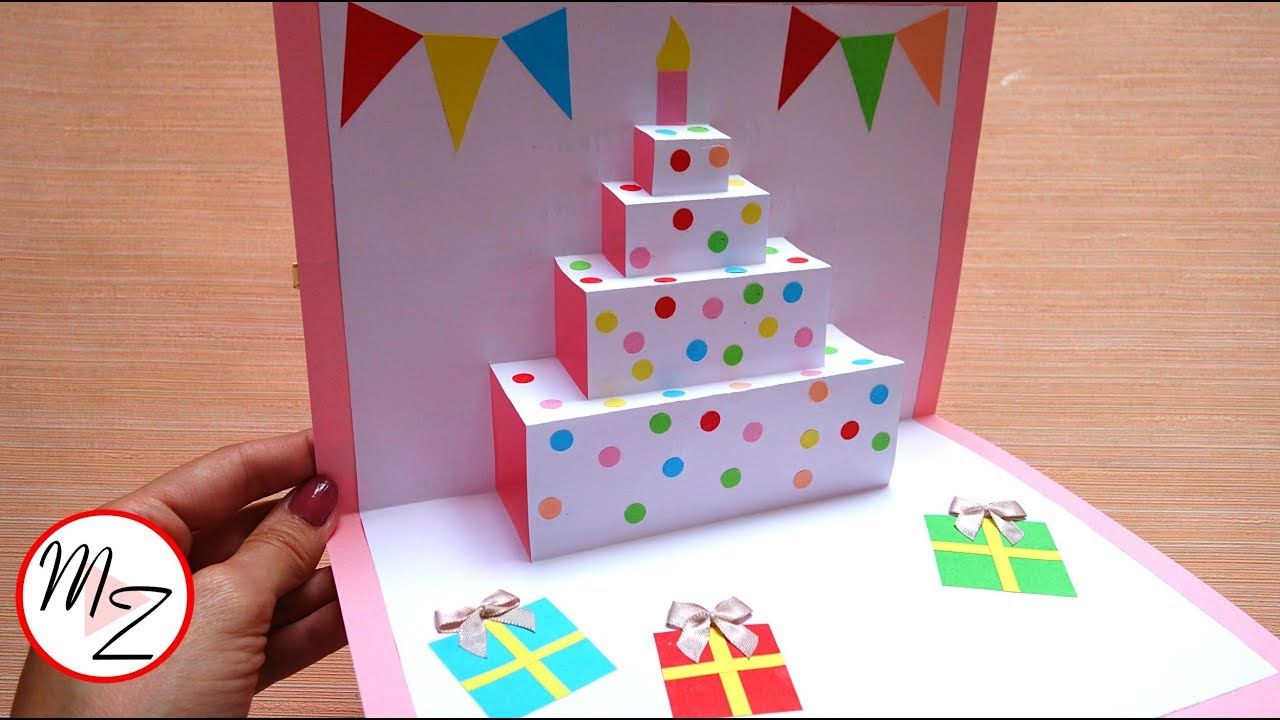 DIY cake pop up card for birthday Easy 5D cards DIY  Maison Zizou