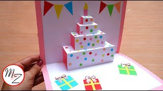 DIY cake pop up card for birthday| Easy 3D cards DIY | Maison Zizou
