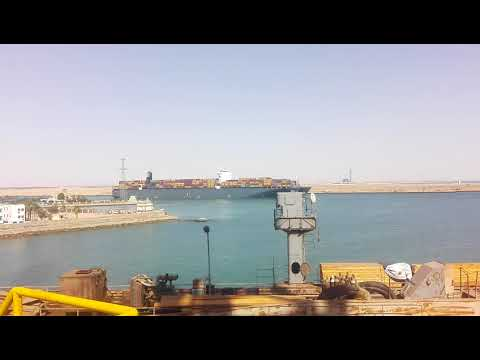 Ship crossing end of Suez canal to gulf of Suez