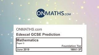2019 Predicted Maths GCSE Paper 3 Edexcel (Foundation Paper 3) Calculator Exam 1MA1/3F