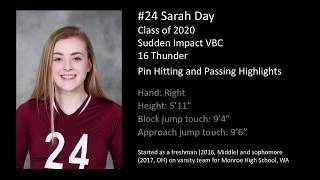 Sarah Day Class of 2020 Pin Hitting/Passing U16 Club Volleyball Highlights 2017-2018