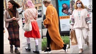 Как одеваются россиянки модницы Петербурга в масках и без Стрит стайл Fashion Walking Style Russia