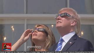 Donald Trump looks at a Minecraft solar eclipse