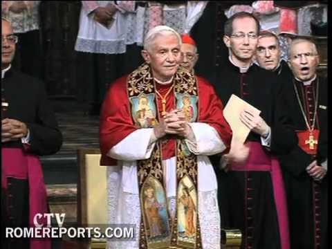 Pope dressed as a pilgrim follows traditional rituals visiting Santiago de Compostela