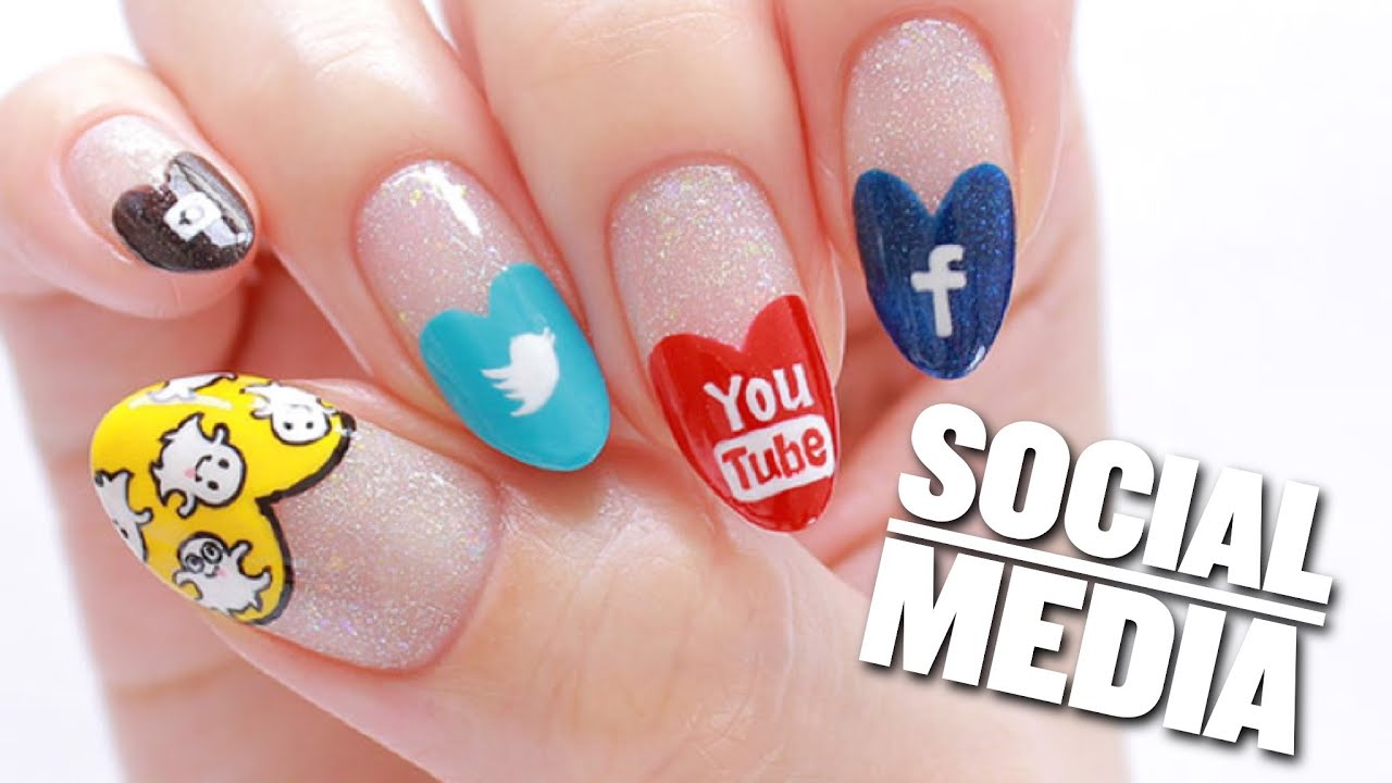 Social Media Nail Art Design (Snapchat, Instagram, YouTube, Twitter ...