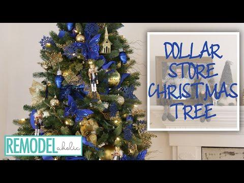 Dollar Store Decorated Christmas Tree Tutorial; 2018 Christmas DIY & Decor Challenge