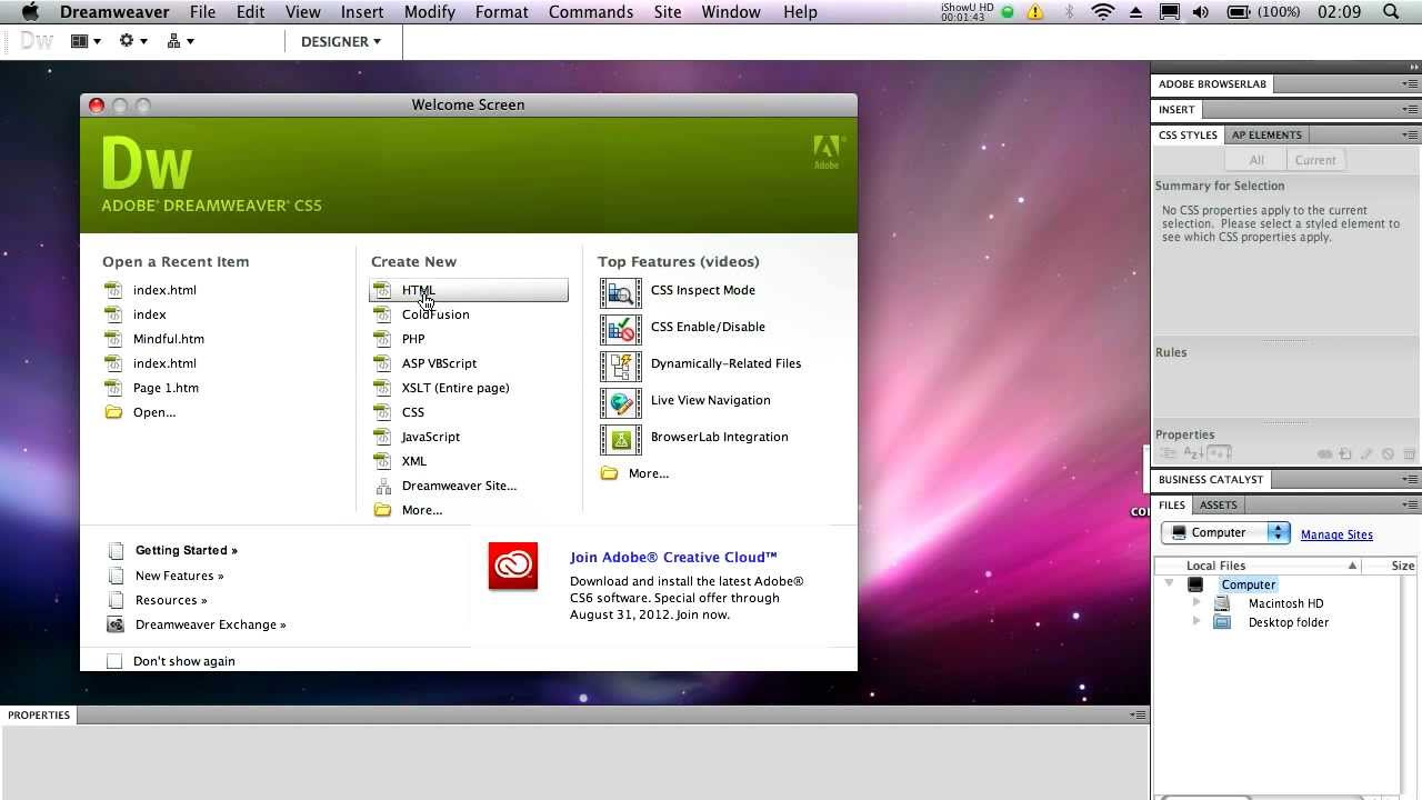 how to install dreamweaver on mac