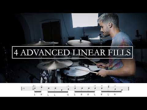 4 Advanced Linear Fills - Drum Tutorial with transcriptions