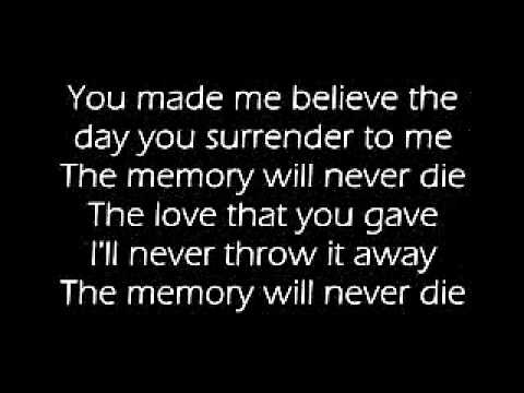 The Memory Will Never Die with lyrics