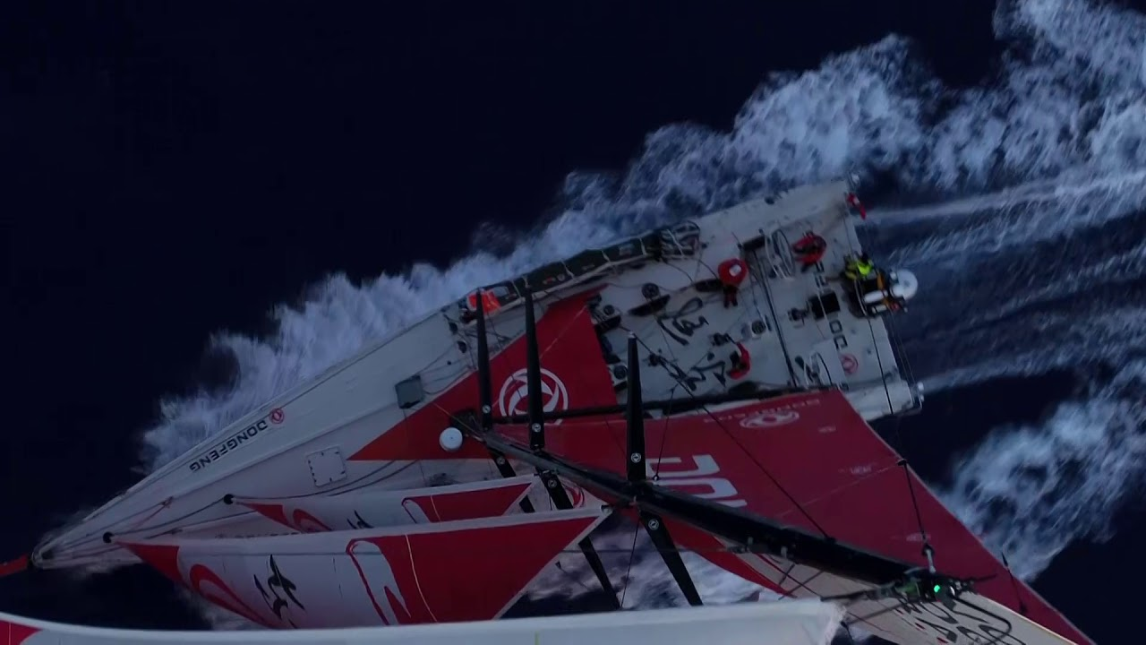 Beautiful sunset drone shots of Dongfeng triple-heading. Includes slomo adn sped-up.