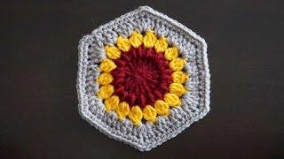 """Шестиугольный мотив """"Подсолнух"""" / Crochet hexagon"""