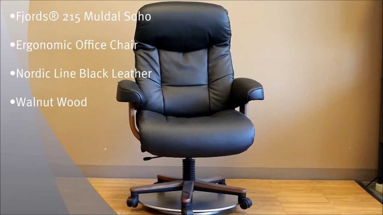 wood and leather office chair swing hire fjords 215 muldal soho | nordic line black walnut base by ...