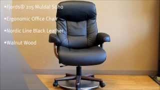 Fjords 215 Muldal Soho Office Chair Nordic Line Black Leather Walnut Wood Base by Hjellegjerde