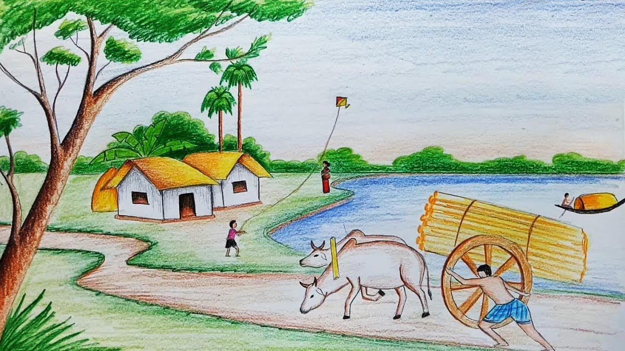 Village Scene Drawing How to draw vil...
