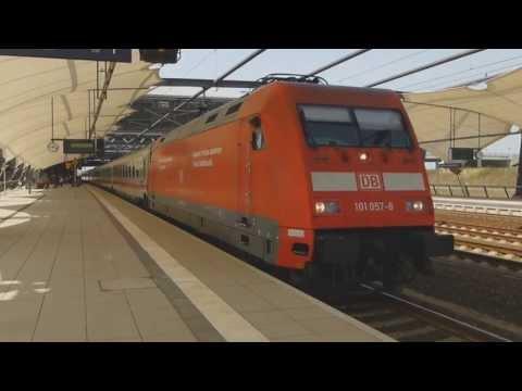 BR 101 und IC Ausfahrt Leipzig Flughafen - german express train departs Leipzig airport station