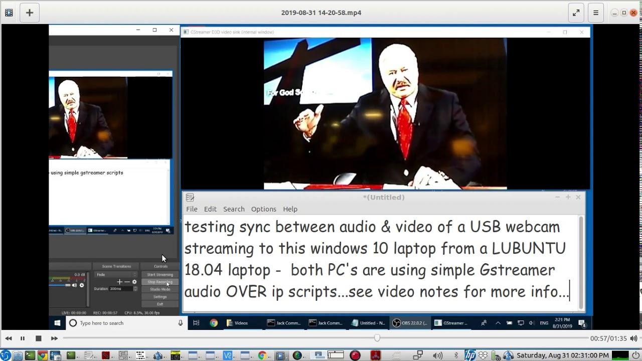 testing the Audio-Video sync of a USB WEBCAM using simple Gstreamer AV  streaming scripts