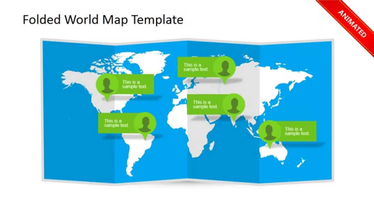 animated 3d folded world map powerpoint template - youtube, Modern powerpoint
