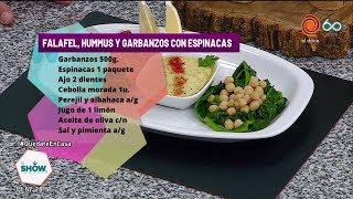 Falafel, hummus y garbanzos con espinacas