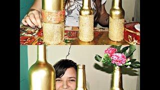 Decoração Com Garrafa De Vidro | Como pintar com Spray