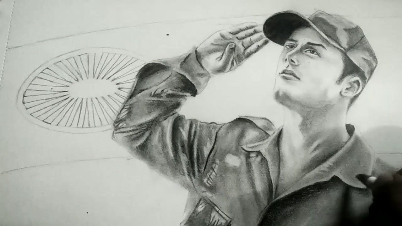 Pencil drawing tutorial of army man soldier drawing fauji drawing