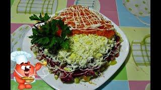 Рецепт салата с ветчиной, свеклой, огурцом