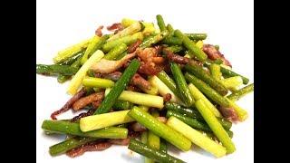 【20無限】 :  蒜芯炒瘦肉絲 Stir fried garlic shoot with pork julienne