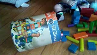 Reborn toddlers playing with vintage Playskool Blocks