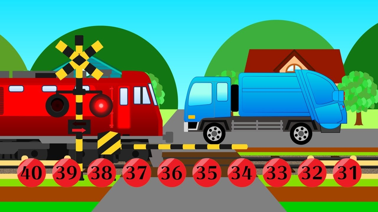 Learn to Count to 40 with Vehicles for Kids | 電車踏切知育アニメ