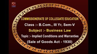 CCE || Business Law - Implied conditions & warranties || LIVE With Gajendra Babu