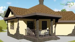 Проект одноэтажного дома ТИМ B-179 с необычной планировкой, на 3 спальни, с пристроенным гаражом