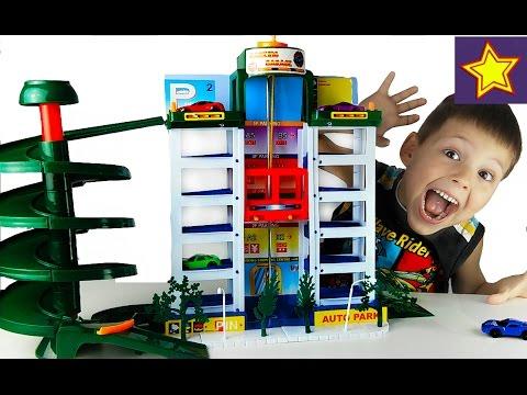Машинки для детей Гараж с лифтом Распаковка игрушек Kids car park toy