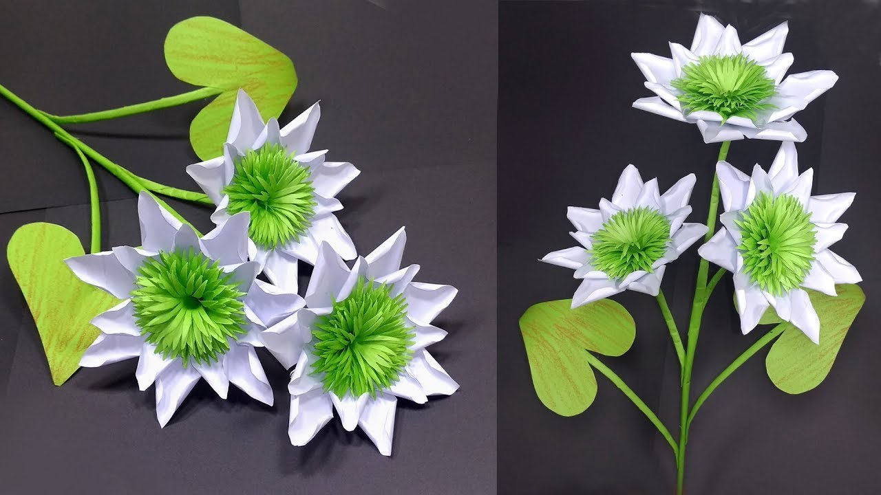 How to make very beautiful white flower with paper stick flower how to make very beautiful white flower with paper stick flower jarines crafty creation mightylinksfo
